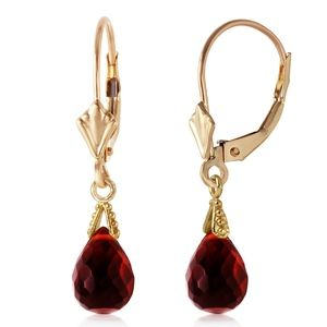 14K. GOLD LEVERBACK EARRING WITH BRIOLETTE GARNETS